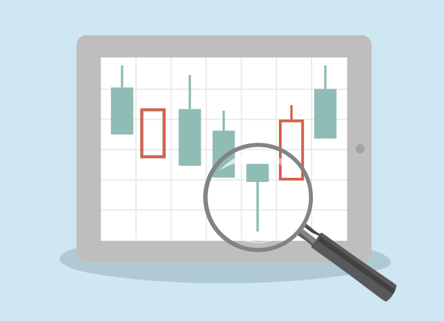 Magnifying glass over graph